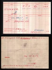 Medal Rolls Index Cards for Harold Anson Gunner