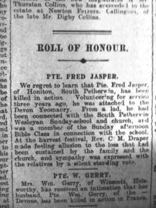 Frederick Jasper's death announcement from the Cornish and Devon Post