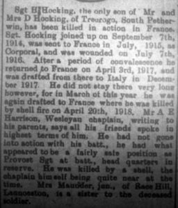 Henry H Hocking Cornish and Devon death announcement