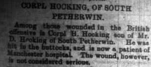 Henry H Hocking Cornish and Devon report on him being wounded
