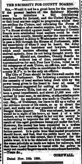 Correspondence column from the Cornish & Devon Post 13th November 1886.