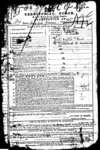 Percy Gunner enlistment papers