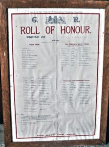 Above the South Petherwin 1914 Roll of Honour on display in St. Paternus Church, South Petherwin..