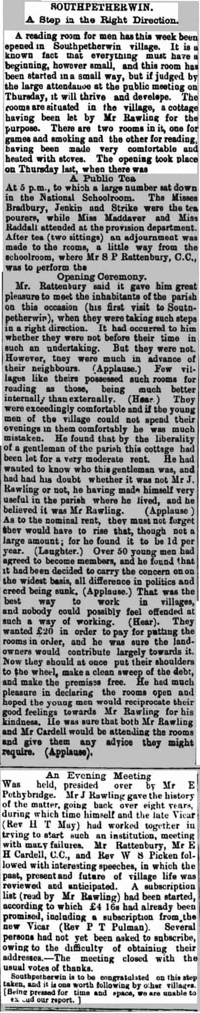 South Petherwin reading room article from the Cornish Devon Post 12th of February 1892