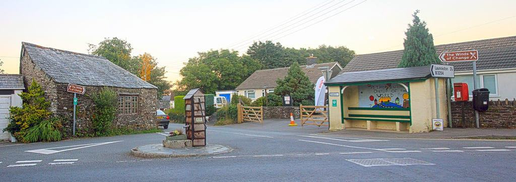 South Petherwin Village Pump and Bus stop July 18 2016