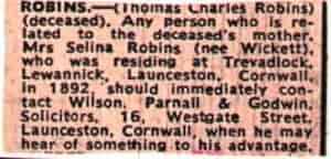 Thomas Charles Robbins newspaper cutting from 1971
