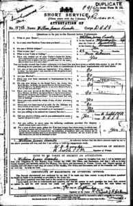 William James Coombe enlistment papers